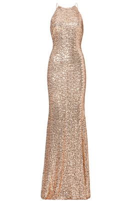 Blush Sequin Racerback Gown by Badgley Mischka