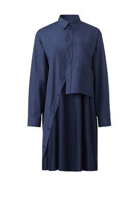 Navy Pleated Shirtdress by Cedric Charlier