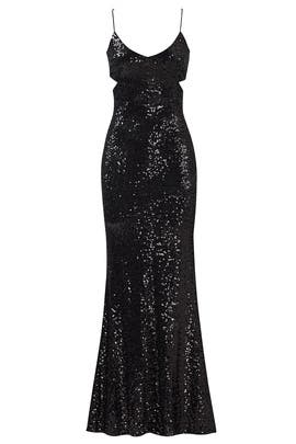Black Sequin Cutout Gown by Badgley Mischka