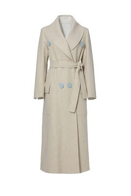 Beige Shawl Collar Coat by DEREK LAM