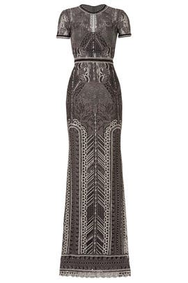 Silver Embroidered Gown by Marchesa Notte