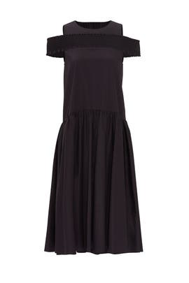 Black Smocked Off The Shoulder Dress by Tibi