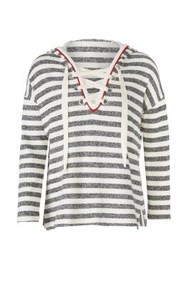 Stripe Lace Up Sweater by White + Warren