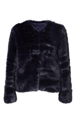 Midnight Faux Fur Topper Jacket by Amanda Uprichard
