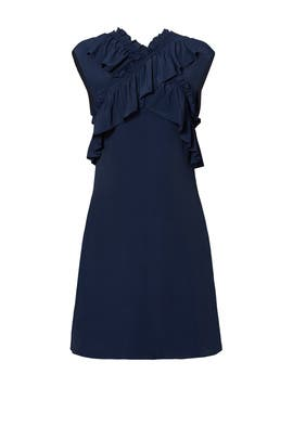 Navy Cross Ruffle Dress by Marni