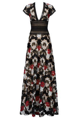 Multi Floral Lace Gown by NAEEM KHAN