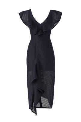 Blue Ruffle Midi Dress by Keepsake