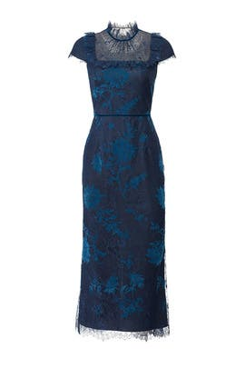 Navy Lace Bib Dress by Marchesa Notte