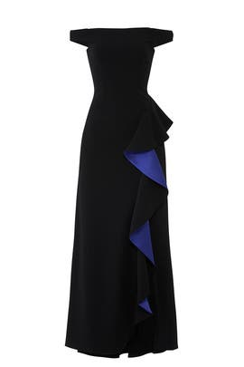 Cobalt Contrast Ruffle Gown by Slate & Willow