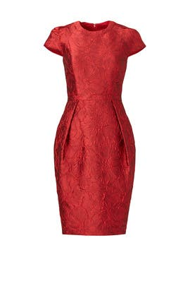 Red Cardinal Pleat Sheath by Carmen Marc Valvo
