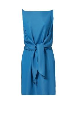 Blue Silk Cady Wrap Front Dress by Nina Ricci