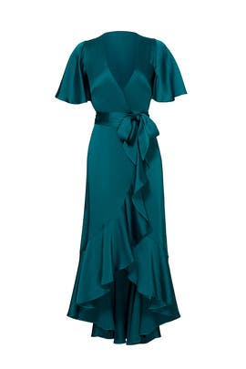 Emerald Parrot Wrap Dress  by Temperley London