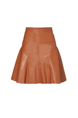 Cognac Vegan Leather Skirt by Rebecca Taylor