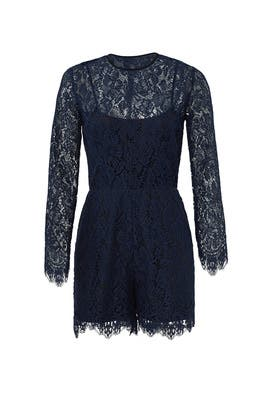 Navy Lace Romper by Amanda Uprichard