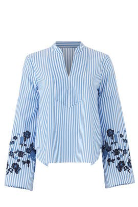 Striped Embroidered Top by Slate & Willow