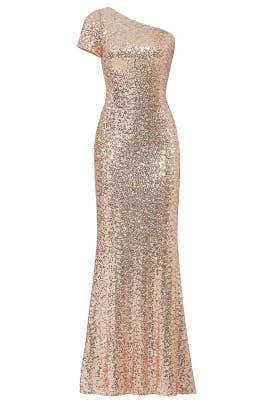 Badgley Mischka Blush Sequin Gown