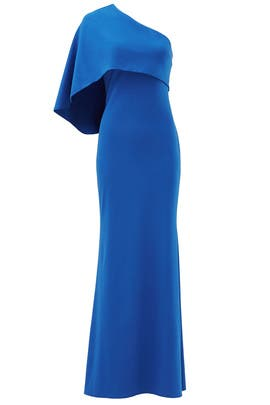 Royal Blue Cape Gown by Mignon