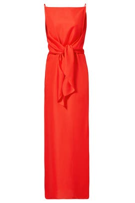Red Silk Cady Wrap Front Gown by Nina Ricci