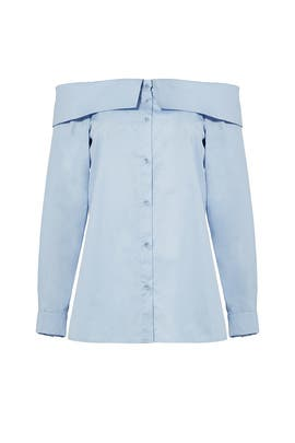 Blue Satin Poplin Off Shoulder Shirt by Tibi