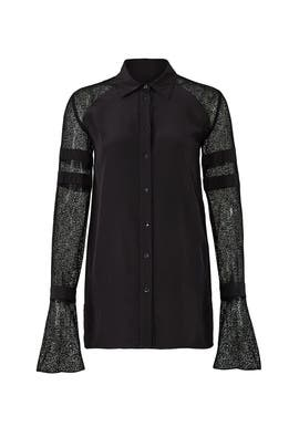 Deco Lace Button Down by Badgley Mischka