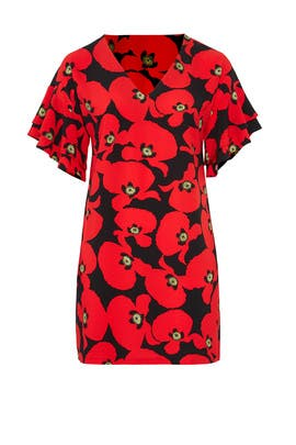 Red Floral Easy Shift by ELOQUII