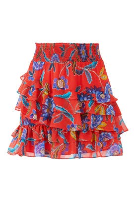 Red Floral Lila Skirt by Rebecca Minkoff
