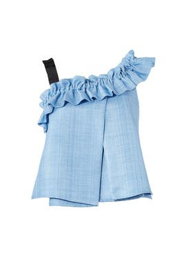 Blue Tao Cropped Ruffle Top by Slate & Willow