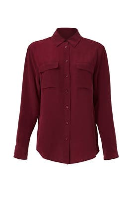 Burgundy Signature Shirt by Equipment