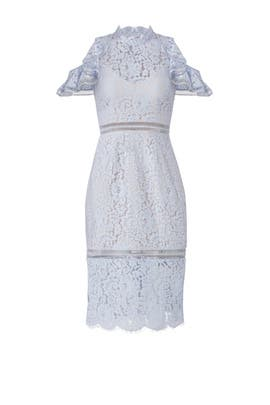 Pale Blue Lace Cold Shoulder Sheath by Keepsake