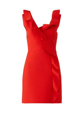 Red Asymmetrical Ruffle Dress by MSGM