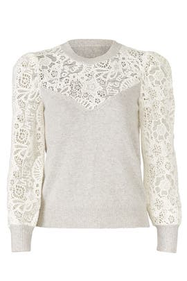 Illusion Lace Sweater by Rebecca Taylor