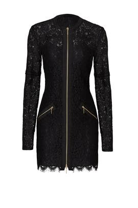 Black Lace Zip Dress by Rachel Zoe