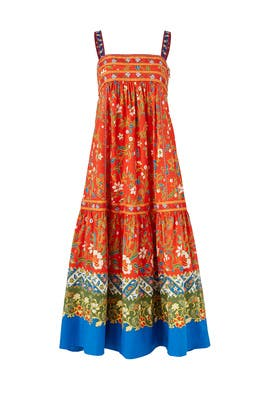 Samba Batik Flower Printed Maxi Dress by Tory Burch