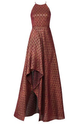 Ruby Gold Halter Gown by Badgley Mischka