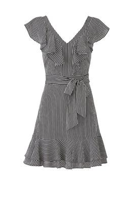 Stripe Ruffle Faux Wrap Dress by J.O.A.