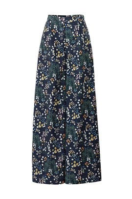 Navy Floral Wide Leg Pants by Lavand.