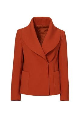 Deep Orange Shawl Collar Jacket by DEREK LAM