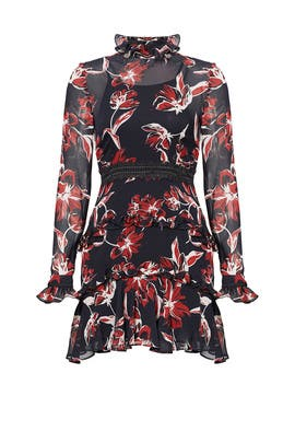 Red Floral Ruffle Dress by Nicholas