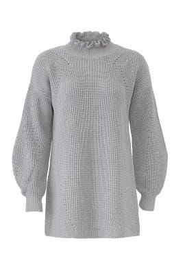 Grey Ruffled Neck Sweater by 525 America