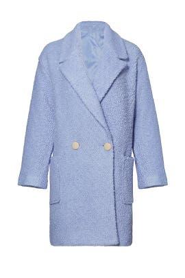 Powder Blue Oversized Boucle Coat by English Factory
