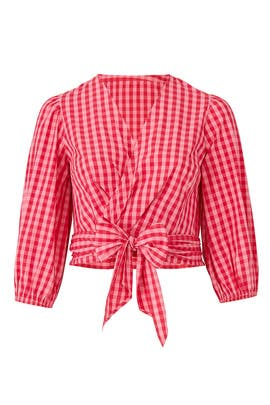 Gingham Wrap Top by Draper James X ELOQUII