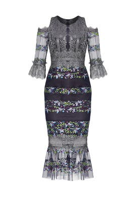 Navy Metallic Dress by Marchesa Notte