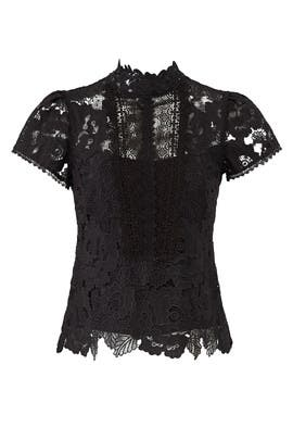 Black Lace Flower Top by Nanette Lepore