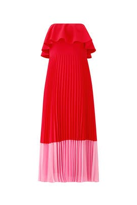 Red Pleated Tea Dress by Aidan Mattox