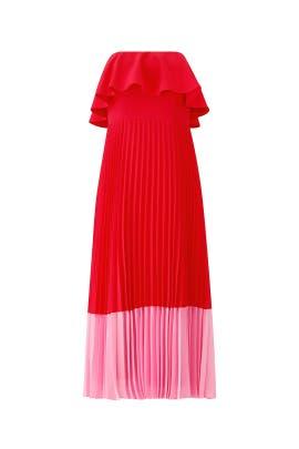 Red Pleated Tea Dress by Aidan Mattox