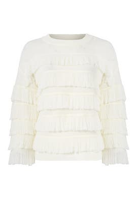 White Ruffle Sweater by English Factory