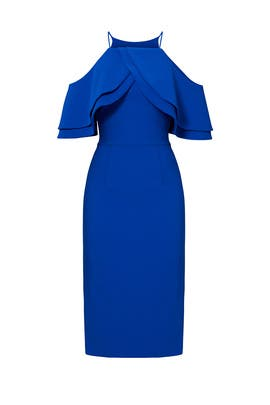 Cobalt Multi Ruffle Dress by Christian Siriano