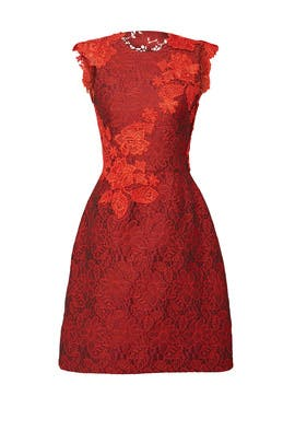 Crimson Floral Dress by ML Monique Lhuillier