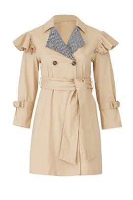 Gingham Collared Trench Coat by LOST INK