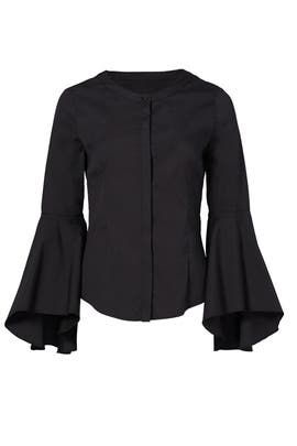 Black Round Bell Sleeve Top by Milly